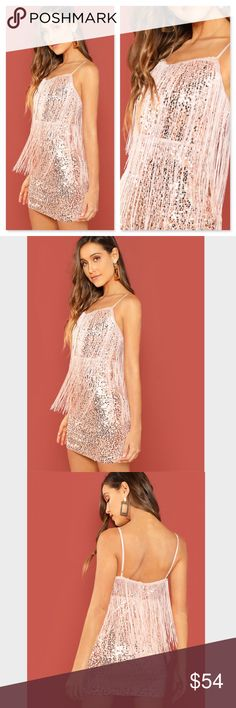 b63dc1c4a3e Fringe Detail Pink Sequin Bodycon Mini Cami Dress Glamorous Light pink  Sequins