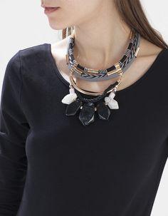 Textile and tube necklace - NECKLACES - Stradivarius Romania