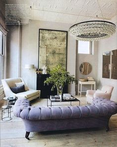 Ochre Pear Chandelier in the Manhattan loft living room of Andrew Corrie and Harriet Maxwell McDonald.