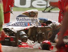 At on May 1 Ayrton Senna lost control of his Williams on lap seven of the San Marino Grand Prix - spearing off at the notorious Tamburello corner. Le Mans, Ducati Motorbike, San Marino Grand Prix, Video Sport, Gerhard Berger, Automobile, Formula 1 Car, F1 Drivers, Ayrton Senna
