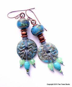 Zenobia:  Gorgeous Tribal Boho statement earrings, handcrafted artisan raku ceramic and lampwork, OOAK, dramatic by TwoTreesStudio on Etsy
