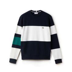 Crew neck sweatshirt in color block fleece T Shirt Vest, Sweatshirt Outfit, Lacoste Men, Mens Fleece, Mens Sweatshirts, Men's Hoodies, Mode Vintage, Menswear, Men's T Shirts