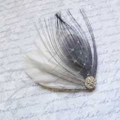 Ivory and Grey Bridal Feather Hair Piece  by TheHeadbandShoppe, $37.00