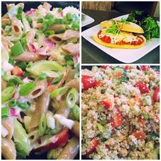 Caesar Spelt Pasta Salad, Quinoa & Veggie Salad and Chicken Parm Sandwich (shown here with a side of Mixed Greens) Pasta Salad, Cobb Salad, Spelt Pasta, Quinoa, Sandwiches, Veggies, Chicken, Food, Crab Pasta Salad