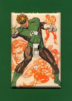 Superhero Light Switch Plate - Green Lantern. $14.95, via Etsy.