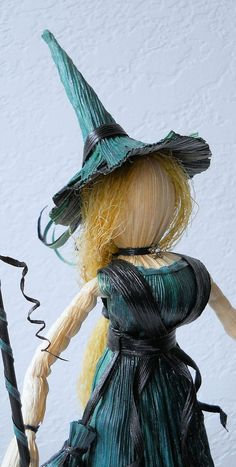 Beautiful Witch Corn Husk Art Doll with Herb Bag by LacyLeafStudio, $50.00