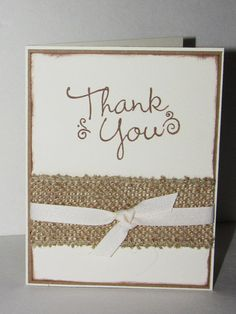 Handmade Wedding Thank You Cards Bridal Thank by LoveofCreating Baby Thank You Cards, Handmade Thank You Cards, Wedding Thank You Cards, Burlap Card, Burlap Ribbon, Thank You Card Design, Sympathy Cards, Greeting Cards, Card Making Inspiration
