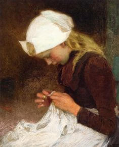 The Athenaeum - Sewing Girl (Edward Potthast - )