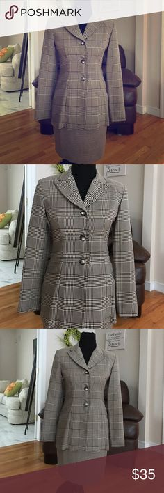 Vintage Moda International Suit from VS Victoria's Secret Moda suit. Brown plaid/houndstooth, four button jacket, zip skirt. Awesome business suit, very  versatile. Skirt 18 1/2 inches. Moda International Other