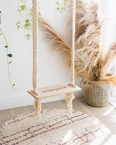 """Come swing with me.Our Macrame Swing is the perfect addition for your little one's playtime. A beautiful timber seat with """"Come Sing With Me"""" laser engraved on the seat and handmade macrame ropes. Diy Swing, Indoor Swing, Porch Swing, Rope Swing, Macrame Hanging Chair, Diy Home Decor, Room Decor, Deco Boheme, Boho Home"""