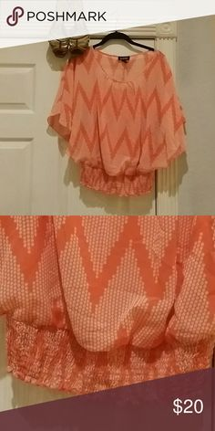 NEW item - Orange Sheer w/tank Chevron Blouse Size M/L this sheer blouse has a built in tank and an elastic band at the bottom that's expands to fit waist A byer Tops Blouses