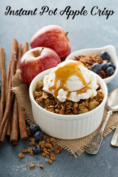 Easy Instant Pot apple crisp can also be made in the Duo Crisp or Ninja Foodi, or finished in the air fryer or oven. It is one of the best instant pot dessert recipes made with healthy oatmeal or granola. I even eat it for breakfast! #recipes #glutenfreerecipes #dessertfood