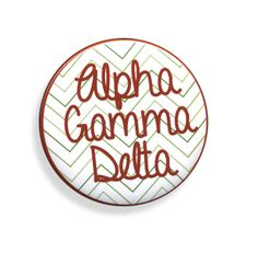 Alpha Gamma Delta Chevron Script Button from GreekGear.com