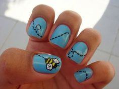 Bumble bee nail art  This is super cute! A perfect summer nail. Ima have to try this out! And do a flower on the other hand!