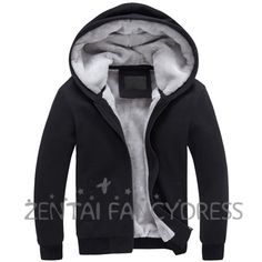 Fashion Mens Winter Thicken Warm Hoodie Black Coat Slim Fit Jacket Causual Outerwear
