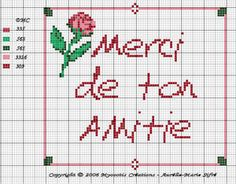 merci amitié - friendship thank you - point de croix-cross stitch - broderie-embroidery- Blog : http://broderiemimie44.canalblog.com/