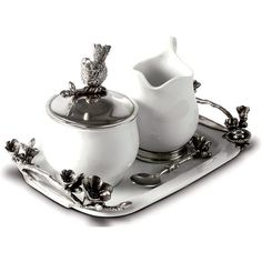 Vagabond House Stoneware Creamer Set - Pewter Song Bird (10.275 RUB) ❤ liked on Polyvore featuring home, kitchen & dining, serveware, stoneware sugar bowl, vagabond house, pewter sugar bowl, pewter sugar and creamer and pewter serving tray