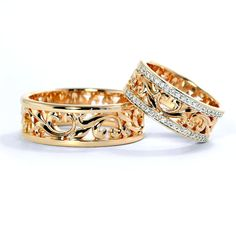 Gorgeous wedding bands for him and for her. The price is for pair of rings.  - 14k gold - 7 mm wide (you can change the ring parameters) - Cubic zirconia (color can be chosen)  Free gift box. If you want to replace cubic zirconia with precious stones please write us and well calculate the cost with the gems you want.  See more at our shop https://www.etsy.com/shop/JewelryEscorial  Join our instagram account: https://www.instagram.com/escorialjewelry/