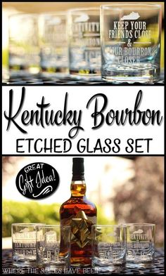 Tutorial detailing how to make a DIY Kentucky Bourbon etched glass set! The designs can easily be changed, and this would make a great gift idea! Perfect Gift For Dad, Gifts For Dad, Easy Gifts, Homemade Gifts, Bourbon Glasses, Bourbon Gifts, Bourbon Whiskey, Etched Glass Vinyl, Text Tool