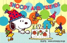 Snoopy and Woodstock. From Japan. Snoopy I Love You, Snoopy The Dog, Charlie Brown And Snoopy, Snoopy And Woodstock, Happy Birthday Charlie Brown, Snoopy Birthday, Birthday Cards, Happy 40th, Childhood Friends