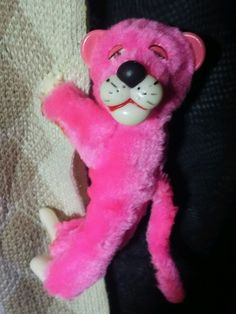 Vintage Plush Pink Panther Clip-on toy hugger huggy 5in Korea 80's cartoon