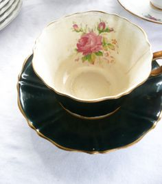 Black Tea cup and saucer by Old Royal  Wetley by southernsalvage, $17.00