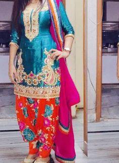 Blue and Floral Red Heavy Embroidey Work Punjabi Salwar Kameez at Zikimo 1