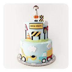 Vehicles & construction birthday cake