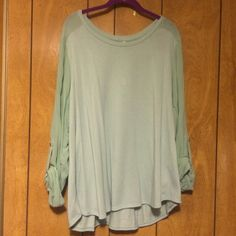 Green Sheer-Sleeve Sweater Lightweight green sweater with sheer 3-quarter sleeves that are rolled up with button. Great with jeans! Feel free to make an offer. NO trades. Forever 21 Sweaters Crew & Scoop Necks