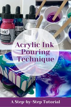 Acrylic Ink Pouring Technique: A Step-by-Step Tutorial Learn the acrylic ink pouring technique in this tutorial for beginners. Find out what supplies are used, learn the basic steps of pouring ink, and some helpful tips for creating beautiful paintings. Acrylic Pouring Techniques, Acrylic Pouring Art, Acrylic Resin, Acrylic Art, Acrylic Colors, Alcohol Ink Crafts, Alcohol Ink Painting, Alcohol Ink Art, Flow Painting