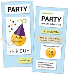 Witzige Einladung zum Geburtstag im Kurznachrichten-Stil mit Party Emoji.  Für alle, die dennoch die gedruckte Einladungskarte lieben und schätzen!