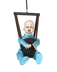 Bouncing Zombie Baby exclusively at Spirit Halloween - No one will want to come over and babysit when you display the Bouncing Zombie Baby. A baby has never been so terrifying, watch as he babbles eerie sayings and bounces after his victims. Make it yours for $69.99