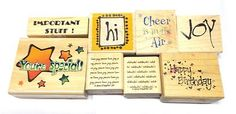 Phrases and words rubber stamp lot Stampin up Penny Black Hampton art stamps