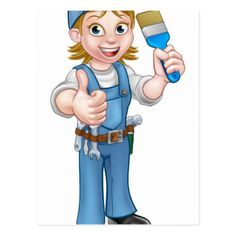Cartoon Woman Painter Decorator Character Postcard - construction business diy customize personalize