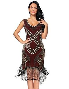 85ec1fc8049 1920s Gatsby V Neck Sequin Beads Fringed Cocktail Hem Flapper Dress