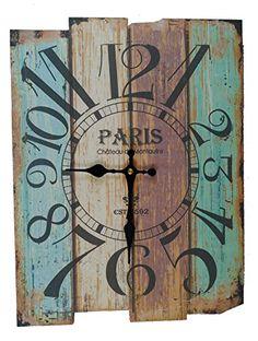 Wood Projects That Sell, Wood Shop Projects, Farmhouse Wall Clocks, Rustic Wall Clocks, Clock Art, Diy Clock, Large Wooden Clock, Decopage, Paisley Art