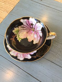 Trimont Tea Cup and Saucer Made In Occupied Japan Black & Pink Floral Footed Coffee Cups And Saucers, Cup And Saucer Set, Tea Cup Saucer, Vintage Dishes, Vintage China, Vintage Tea, Bone China Tea Cups, Porcelain Mugs, Tea Service
