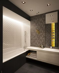 The pops of yellow, also found in other spaces, makes the bathroom feel lively…