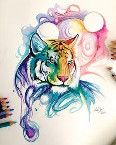tigre- en -acuarela- plantilla -para- tatuar