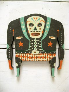Luchadore woodcut, designed by  Tom Frost