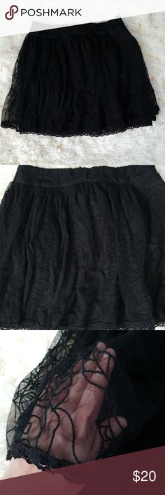 Free people mini lace mesh skirt Super cute skirt by free people. In good condition. Has a zipper on one side. Has hiden side pockets as well. This skirt is very flirty perfect for the summer Free People Skirts Mini