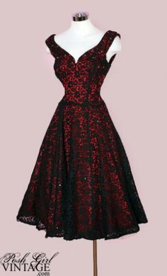 Red With Black Lace Overlay Dress. Rich red satin with a sheer black lace overlay that's sprinkled with crystal rhinestones. like the style but not the color 1950s Fashion, Vintage Fashion, Club Fashion, Vintage Beauty, Emo Fashion, Fashion Outfits, Vintage Dresses, Vintage Outfits, 1950s Dresses