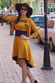 Dress with an asymmetrical skirt.