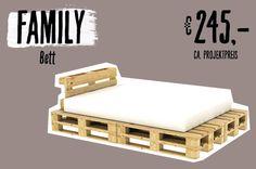 Bett Family aus Paletten