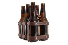 Leather six pack carrier for hubby for 3rd wedding anniversary. Theme: leather.
