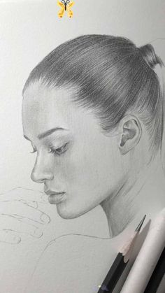 Pencil drawing of a girl with pony tail by Nadia Coolrista. Part1 #drawing Work in progress.<br> Realistic Pencil Drawings, Pencil Art Drawings, Art Drawings Sketches, Cute Drawings, Drawing Art, Drawing Ideas, Cute Girl Drawing, Drawing Techniques, Drawing Tutorials