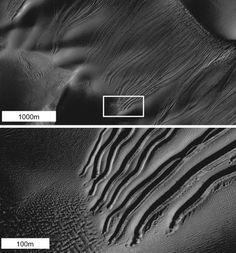 Postkarte vom Mars: Bilder von Hügeln und Rinnen auf der Oberfläche des roten...