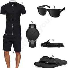 Schwarzes Sommer-Outfit für Herren (m0434) #outfit #style #fashion #menswear #mensfashion #inspiration #shirt #cloth #clothing #männermode #herrenmode #shirt #mode #styling #sneaker #menstyle