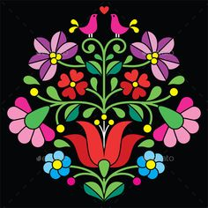 Kalocsai Embroidery - Hungarian Floral Folk Pattern