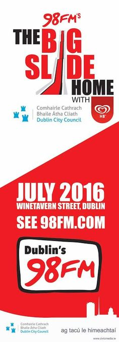98 FM's Big Slide Home Street Lamp Banners. civicmedia2016